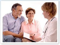 doctor consulting to senior couple